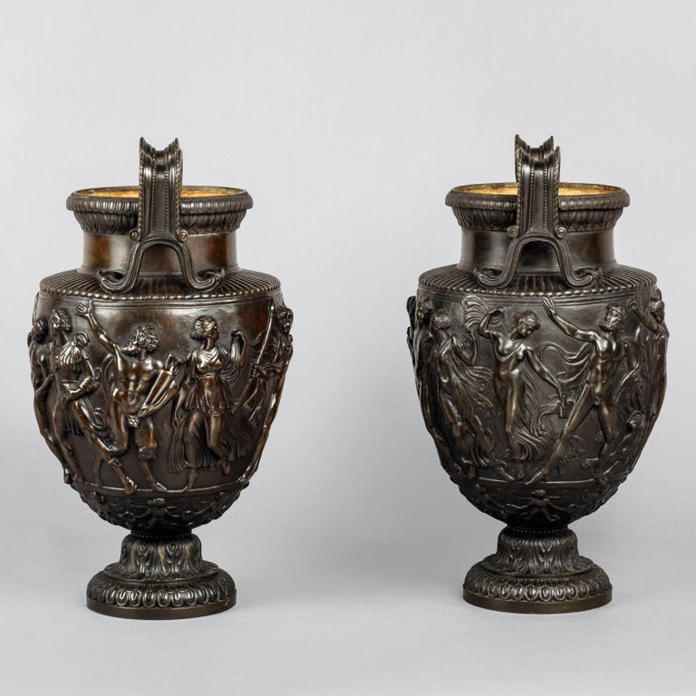 French Pair of Patinated Bronze Models of the Townley Vase Cast by Delafontaine For Sale