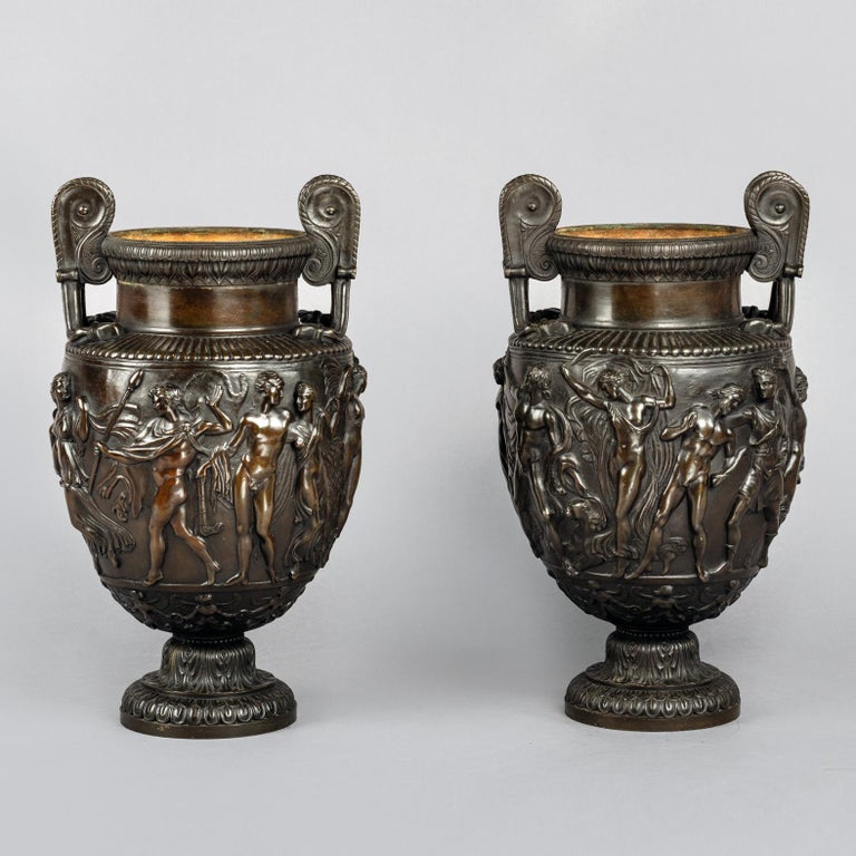 Pair of Patinated Bronze Models of the Townley Vase Cast by Delafontaine In Good Condition For Sale In London, GB
