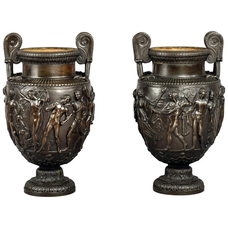 Pair of Patinated Bronze Models of the Townley Vase Cast by Delafontaine For Sale