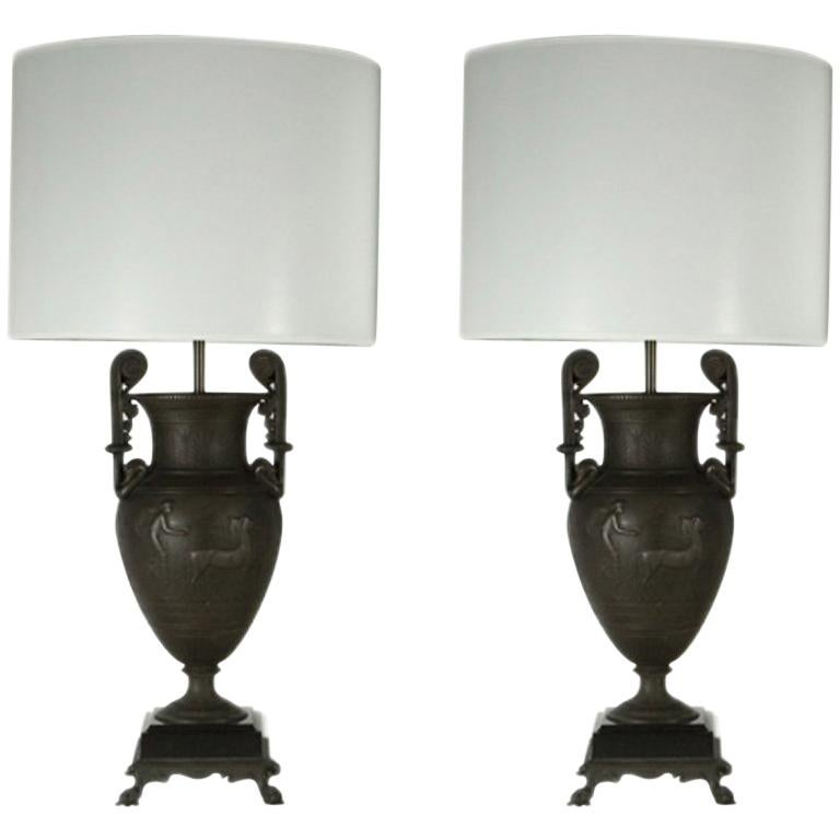Pair of Patinated Bronze Neoclassical Lamps