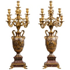 Pair of Patinated Bronze Nine-Light Candelabra by Barbedienne