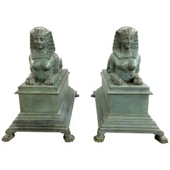 Pair of Patinated Bronze Egyptian Revival Sphinx, circa 1900