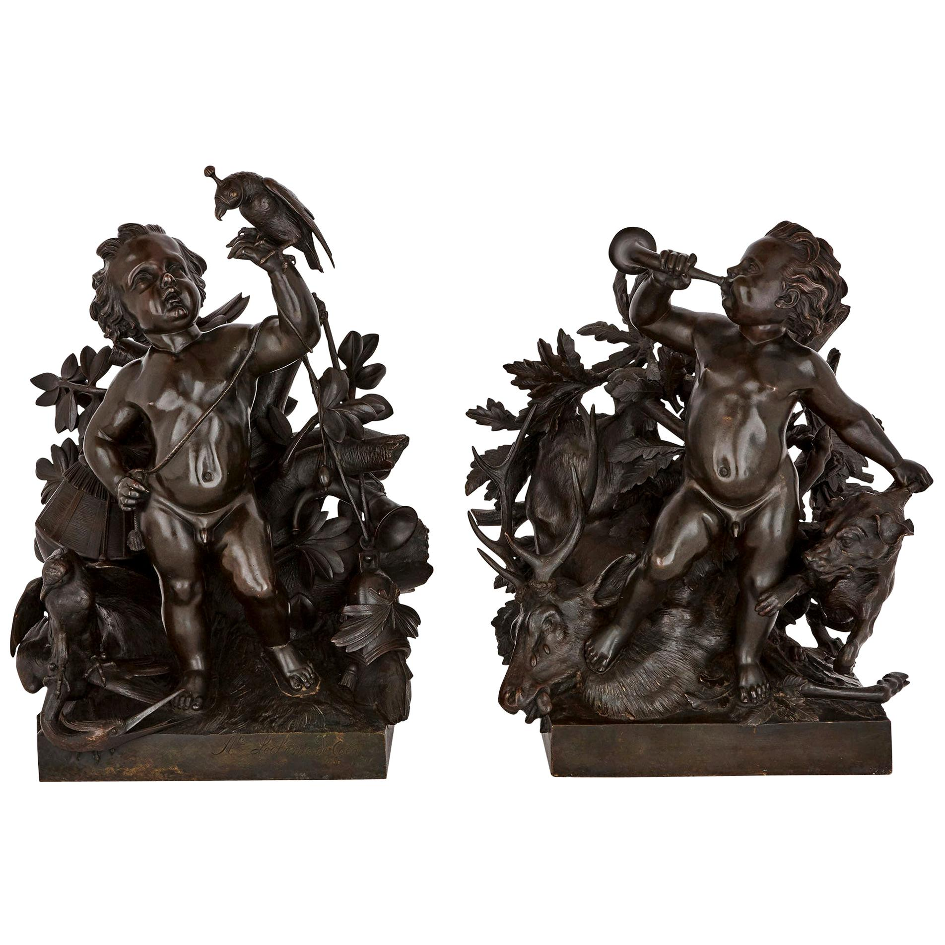 Pair of Patinated Bronze Putto Groups by Lechesne