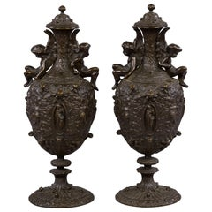 Pair of Patinated Bronze Renaissance Style Covered Urns, circa 1875