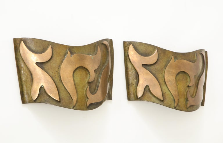 Pair of Patinated Bronze Sonate Sconces, Garouste & Bonetti France, 20th Century In Good Condition For Sale In New York City, NY