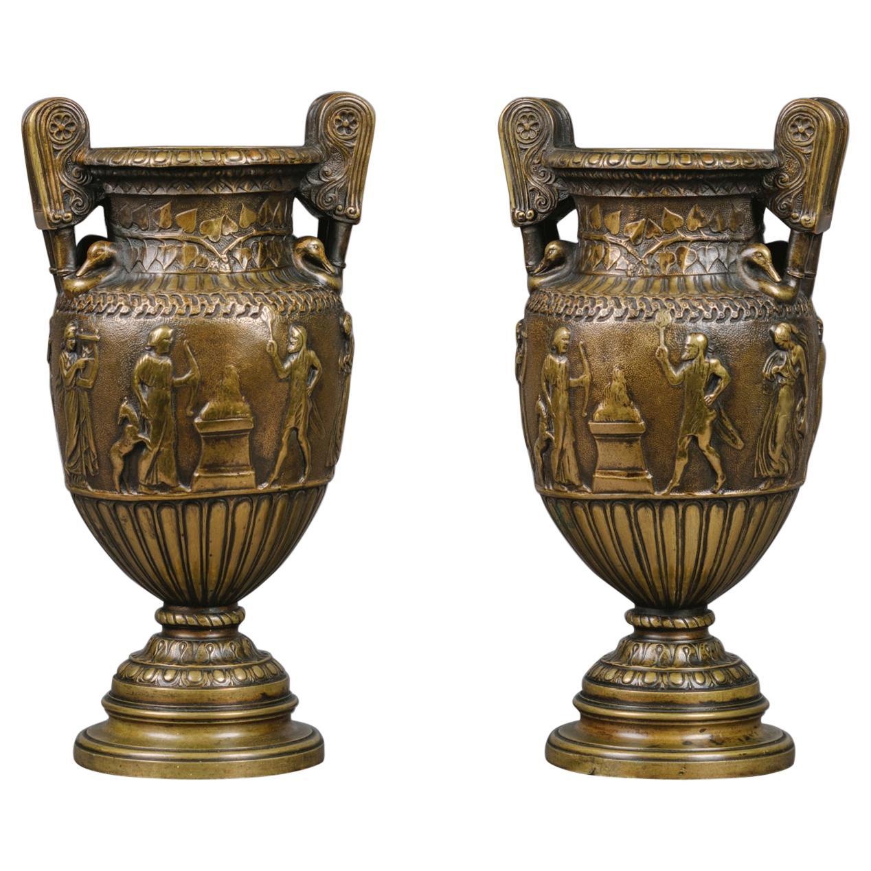 Pair of Patinated Bronze Vases