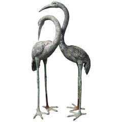 Pair of Patinated Bronze Extra Large Crane Bird Statues, 1970s