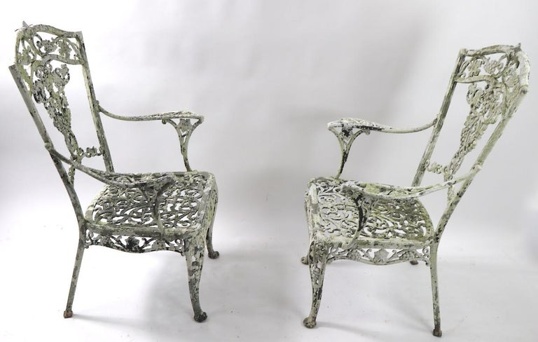 Pair of Patinated Cast Metal Garden Chairs 7