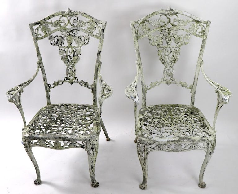 Pair of Patinated Cast Metal Garden Chairs 2
