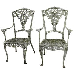 Pair of Patinated Cast Metal Garden Chairs