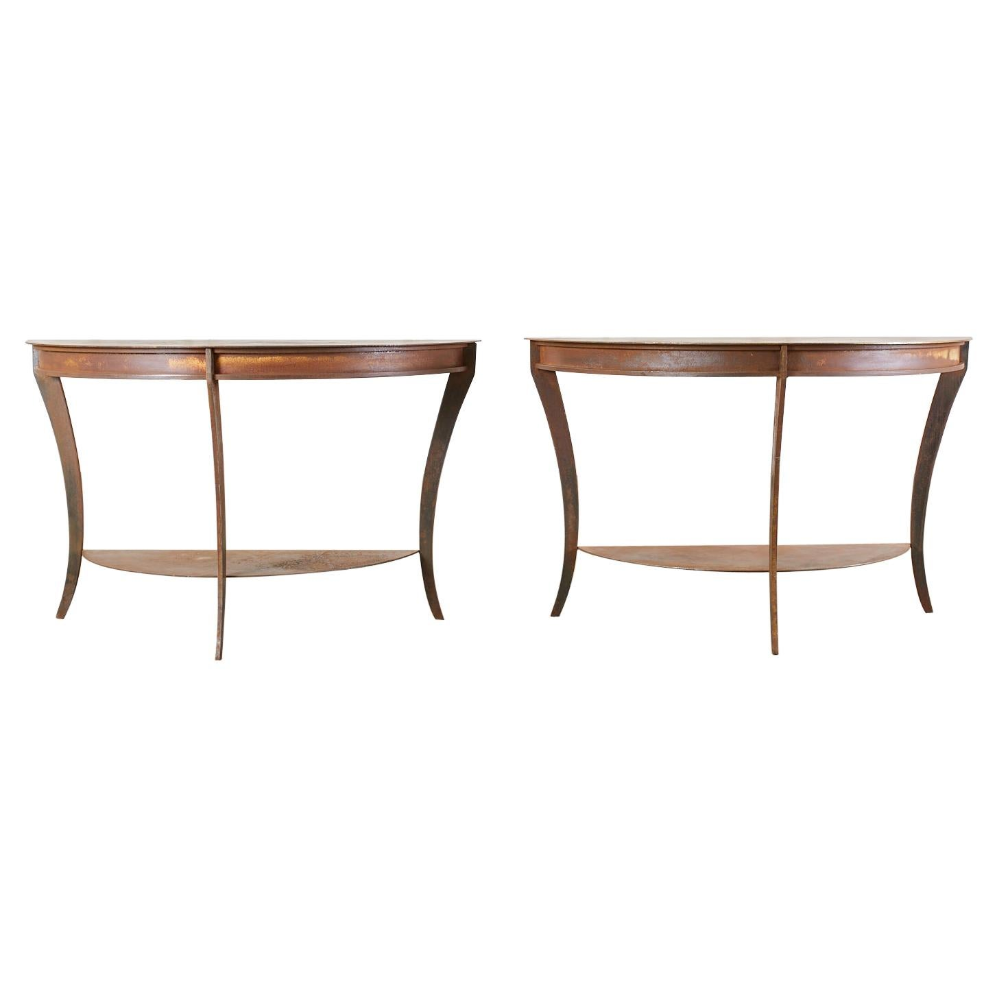 Pair of Patinated Iron Demilune Console Tables