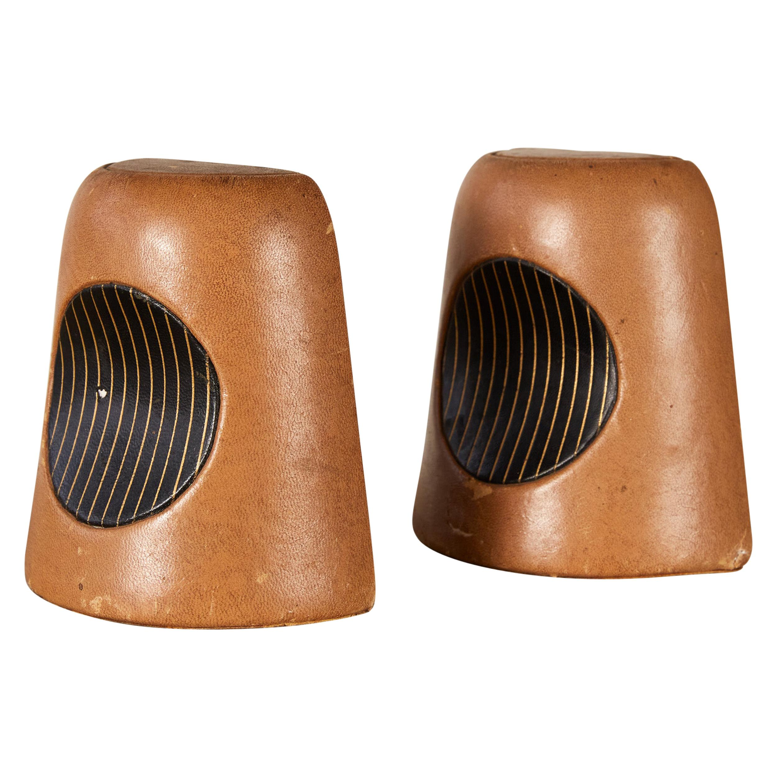 Pair of Patinated Leather Bookends