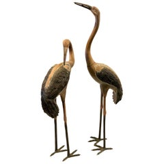 Pair of Patinated Tall Bronze Cranes Sculptures
