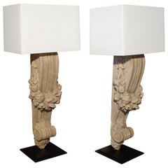 Pair of Patinated Terra Cotta Lamps from France, circa 1900