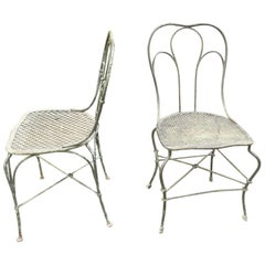 Pair of Patinated Wrought Iron Chairs 1900-1920
