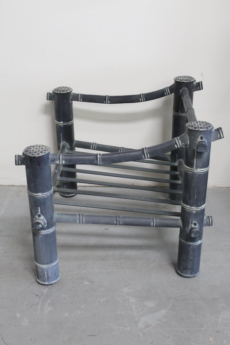 Late 20th Century Pair of Patio Chairs and Ottoman For Sale