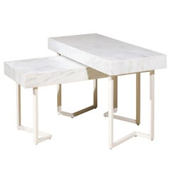 Pair of Patterson White Marble Nesting Tables by Darryl Carter for Milling Road