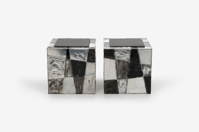 Pair of Paul Evans Argente end tables, welded aluminum patinated and painted with slate tops.