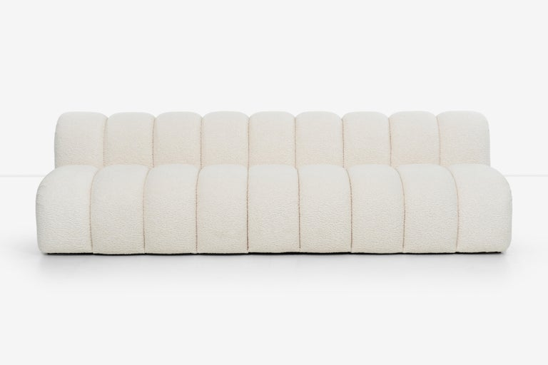 Pair of Paul Evans Caterpillar Sofas in Boucle, rare set Evans 1960s design, expertly handcut new foam and reupholstered. Label on underside (Paul Evans Inc.)