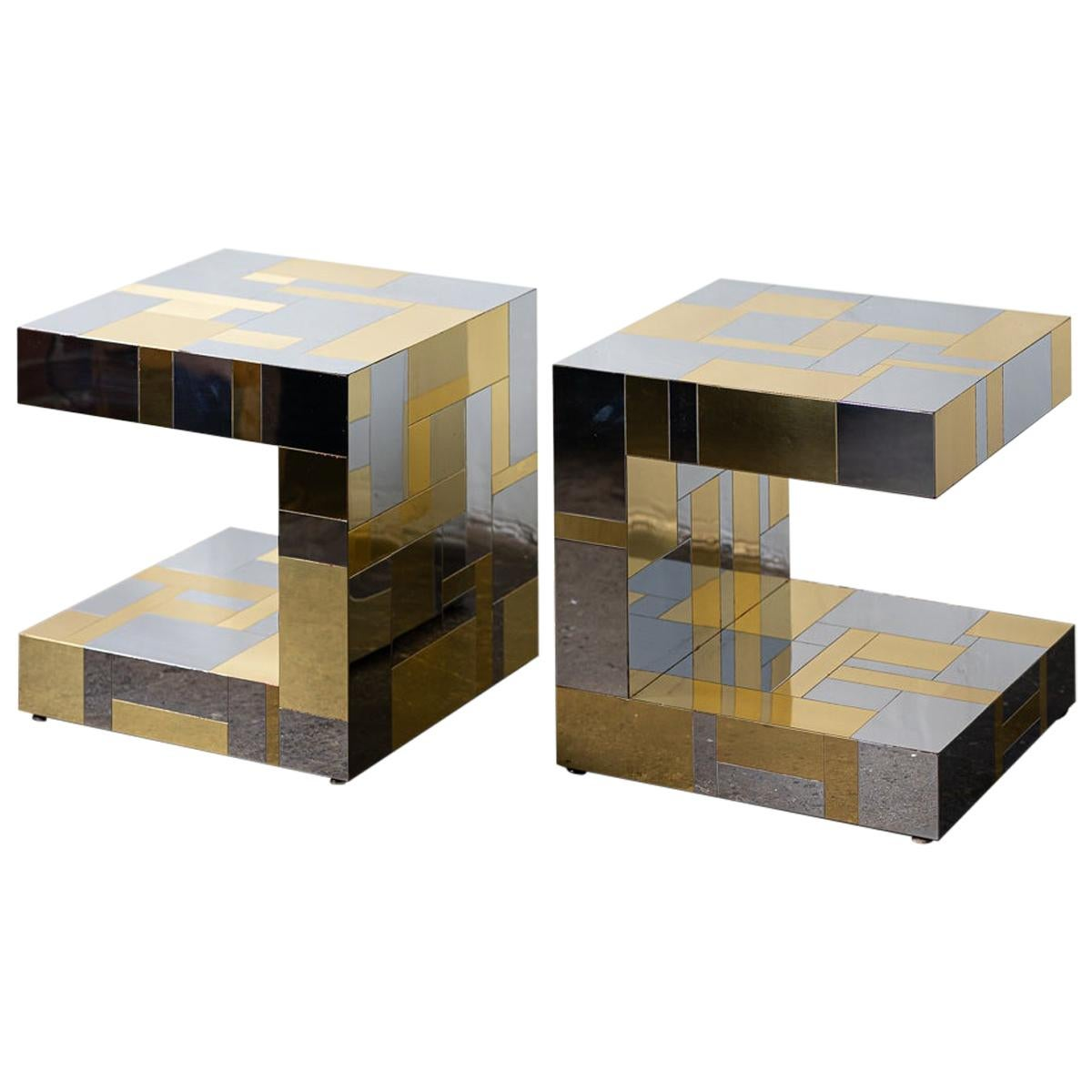 Pair of Paul Evans Cityscape Chrome and Brass End Tables