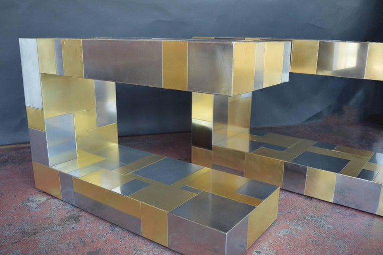 Pair of cityscape side tables by Paul Evans.