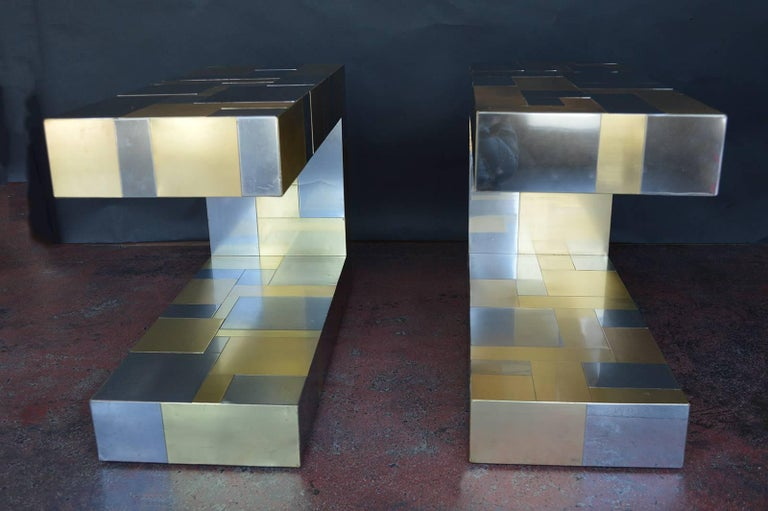 American Pair of Paul Evans Cityscape Side Tables For Sale