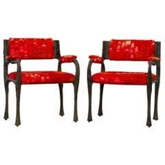Pair of Paul Evans Sculpted Bronze Armchairs, Late 1960s