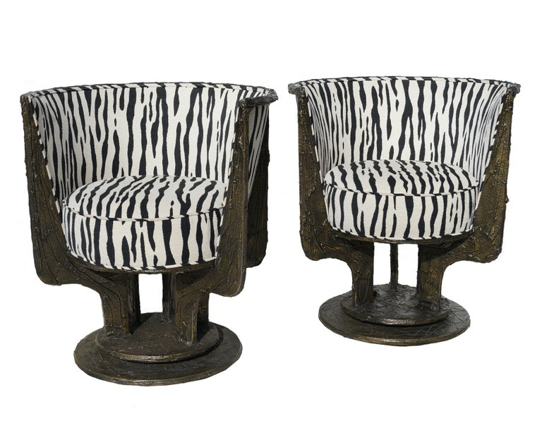 Pair of Paul Evans sculpted bronze chairs. 2 pair available.