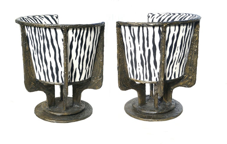 Mid-Century Modern Pair of Paul Evans Sculpted Bronze Chairs For Sale
