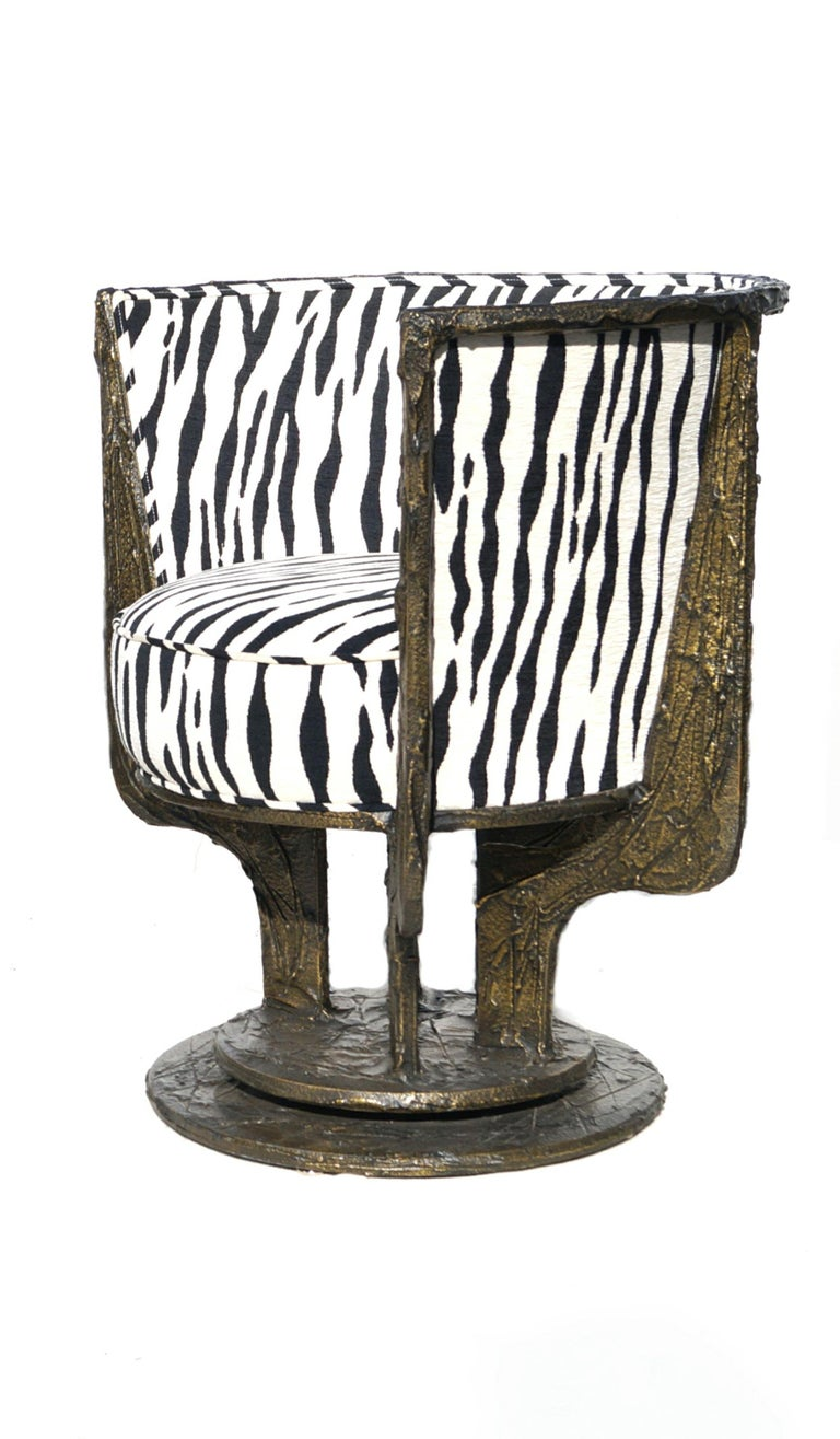 American Pair of Paul Evans Sculpted Bronze Chairs For Sale