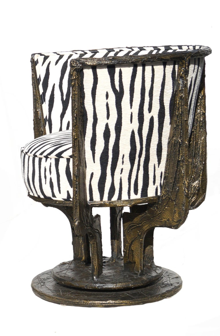 Pair of Paul Evans Sculpted Bronze Chairs For Sale 1