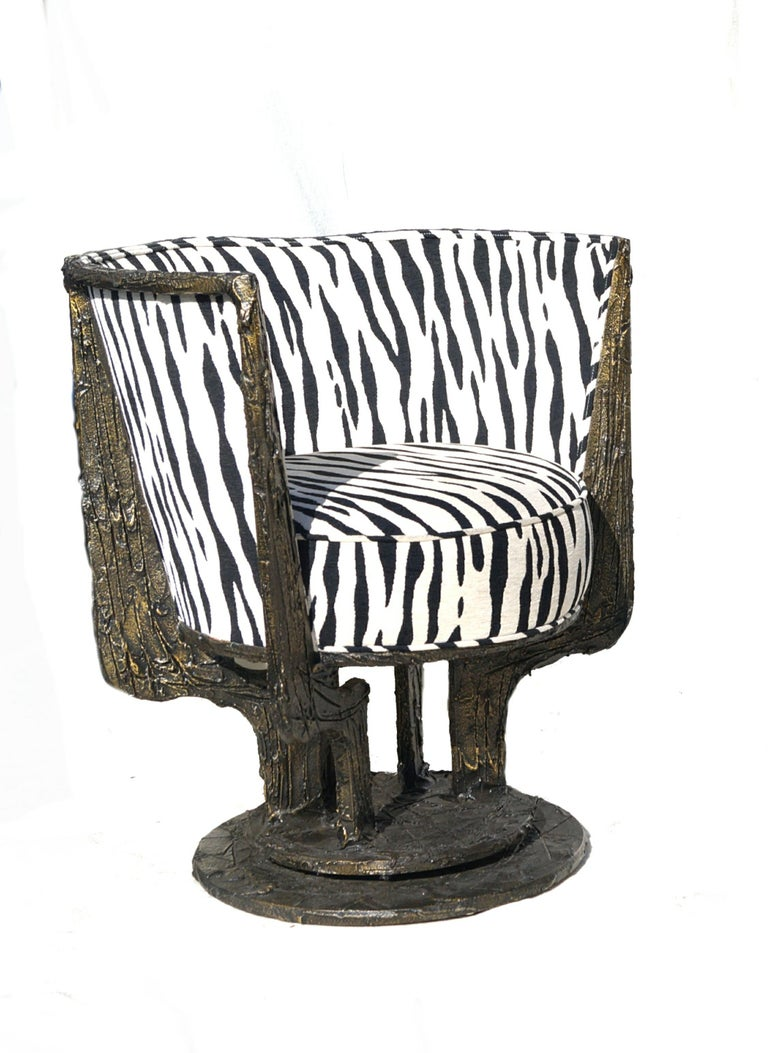 Pair of Paul Evans Sculpted Bronze Chairs For Sale 2