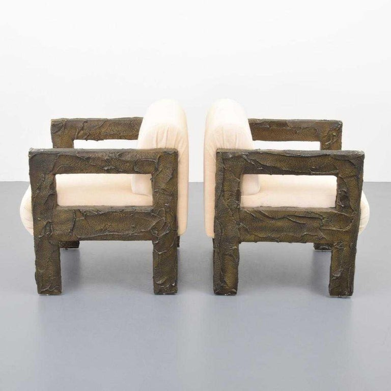 Brutalist Pair of Paul Evans Sculpted Bronze Lounge Chairs For Sale