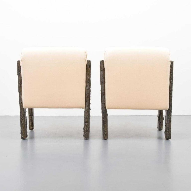 American Pair of Paul Evans Sculpted Bronze Lounge Chairs For Sale