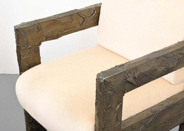 Pair of Paul Evans Sculpted Bronze Lounge Chairs For Sale 2