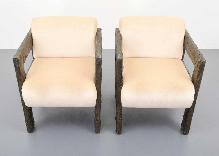 Pair of Paul Evans Sculpted Bronze Lounge Chairs For Sale 3