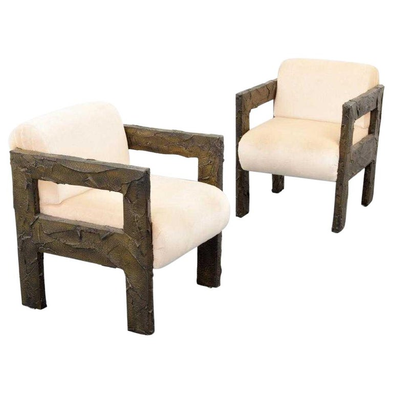 Pair of Paul Evans Sculpted Bronze Lounge Chairs For Sale