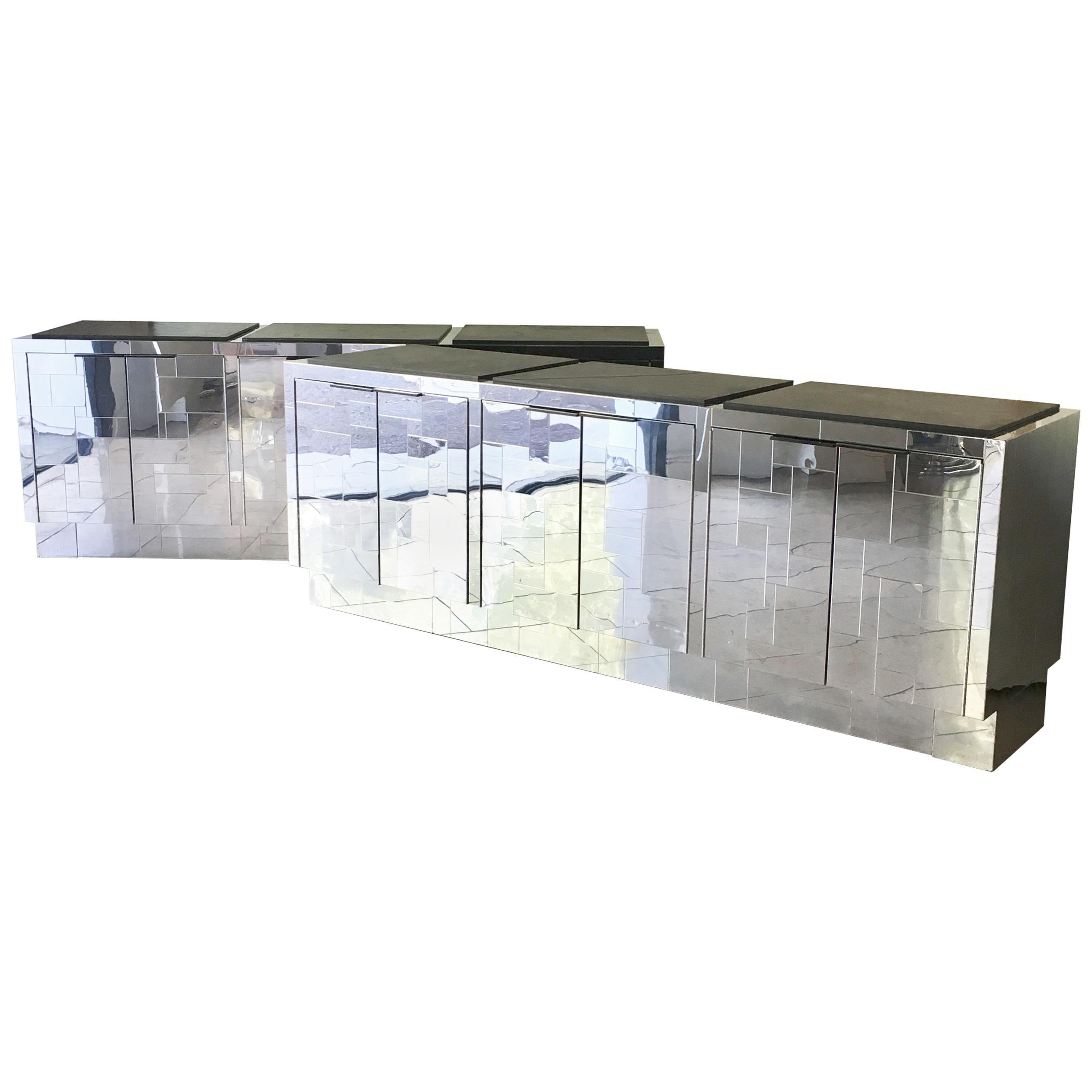Pair of Paul Evans Six-Door Steel Cityscape Cabinets, 1970s
