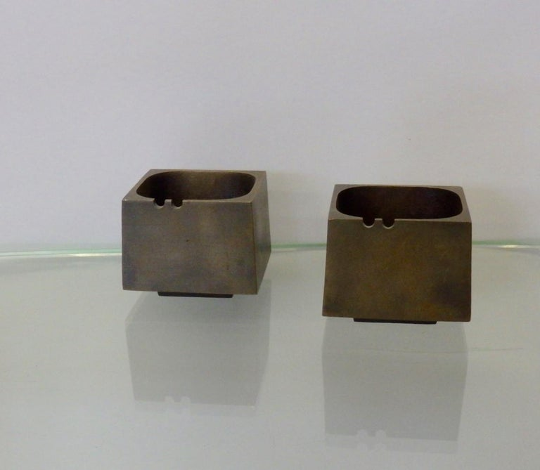 Pair of cast bronze planters in the Brutalist style of Paul Evans.