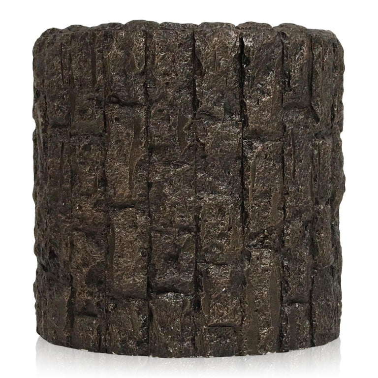 A superb pair of brutalist side tables in the style of Paul Evans and Adrian Pearsall, deep gorgeous grooves and texture that is soft to the touch yet wild and expressive to the eyes. This pair of side tables can work excellent as occasional tables