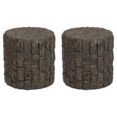 Pair of Paul Evans Styled Brutalist Drum Side Tables in Bronzed Resin, 1970s