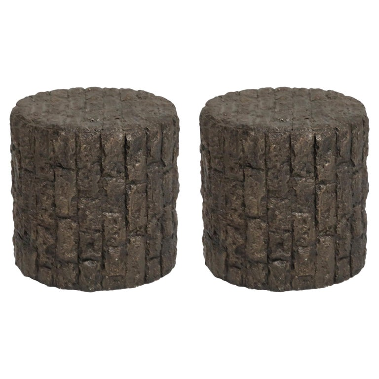 Pair of Paul Evans Styled Brutalist Drum Side Tables in Bronzed Resin, 1970s For Sale