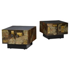 Pair of Paul Evans Welded and Patinated Steel Patchwork Side Tables