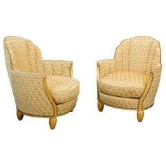 Pair of Paul Follot Art Deco Armchairs Gilded Wood, circa 1920