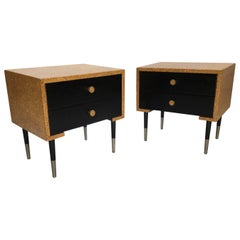 Pair of Paul Frankl Cork Clad Nightstands by Johnson Furniture Company