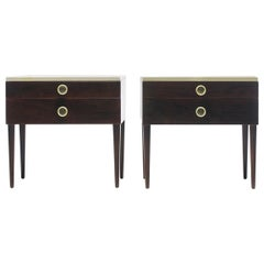 Pair of Paul Frankl Cork Top Nightstands or End Tables in Dark Walnut and Ivory