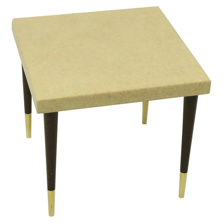 Pair of square Paul Frankl cork wrapped top side tables with mahogany legs and capped brass feet. The tables were designed for Johnson Furniture Company.   About Paul Frankl (Designer) Born in Vienna, Paul Frankl came to the United States in