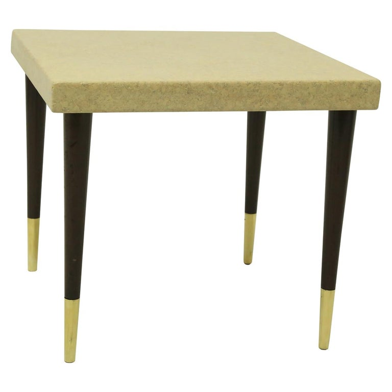 Mid-Century Modern Pair of Paul Frankl Cork Top Side Tables with Mahogany Legs with Brass Feet For Sale
