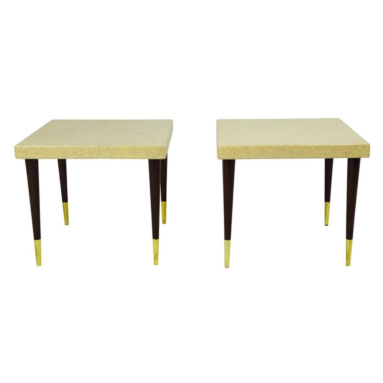 Pair of Paul Frankl Cork Top Side Tables with Mahogany Legs with Brass Feet For Sale