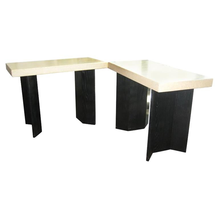 Pair of Paul Frankl Ebonized Oak and Cork Console Tables For Sale 5